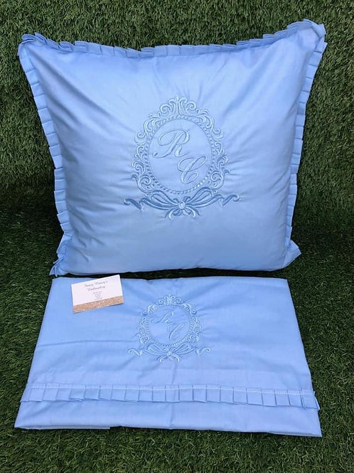 All Blue Pillow & Sheet With Bow Crest Design