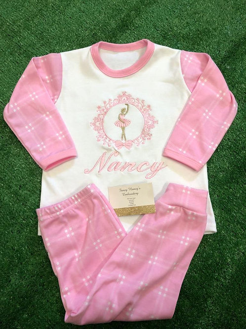 Pink Checked Pjs with Ballerina & Name