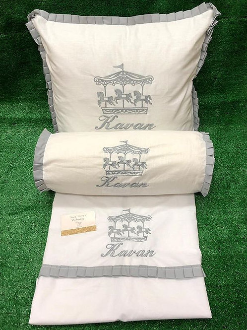 Pillow & Sheet Set With Matching Rolly Cushion