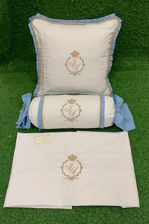 Pillow & Sheet with matching rolly cushion