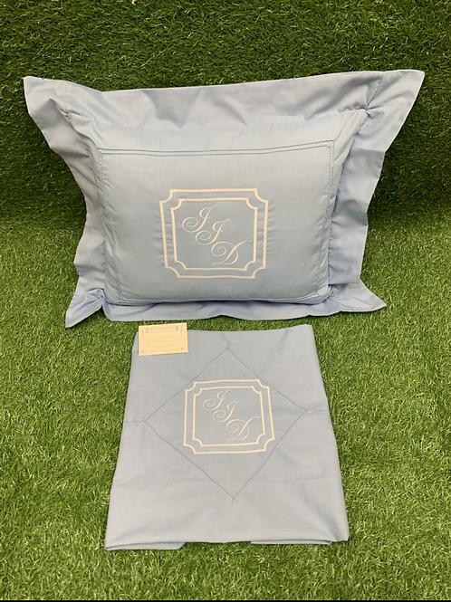 Blue Rectangular Pillow & Sheet Design