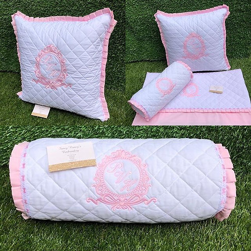 Quilted White Trimmed in Pink Pillow & Sheet Set
