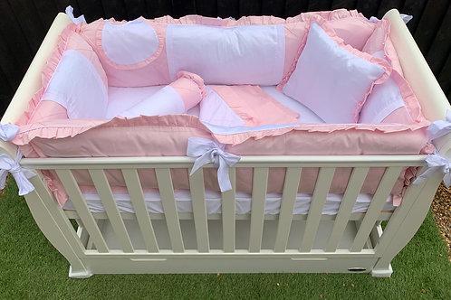 11 Piece Cot Bedding Set (Pink & White)
