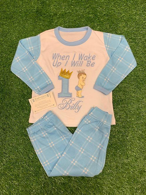 Blue Checked Vintage Baby Boy Birthday Pjs