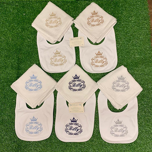 Crown Design Bibs with Initial or Name