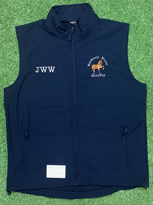 Men's Hackney Horse Society Softshell Gilet (Including a Name or Initials)