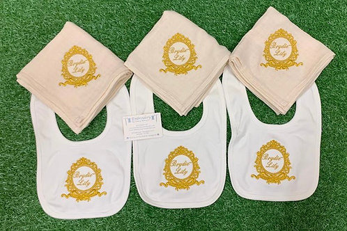Bow Crest Bibs with Initial or Name