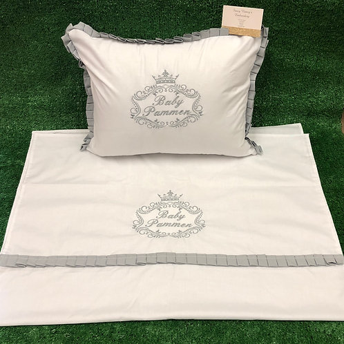 White Trimmed in Grey - Pillow and Sheet Set