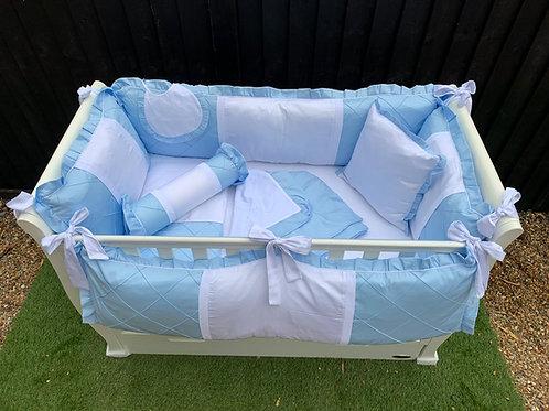 11 Piece Cot Bedding Set (Blue & White)