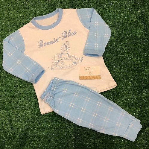 Blue Checked Pjs with Rocking Horse & Name