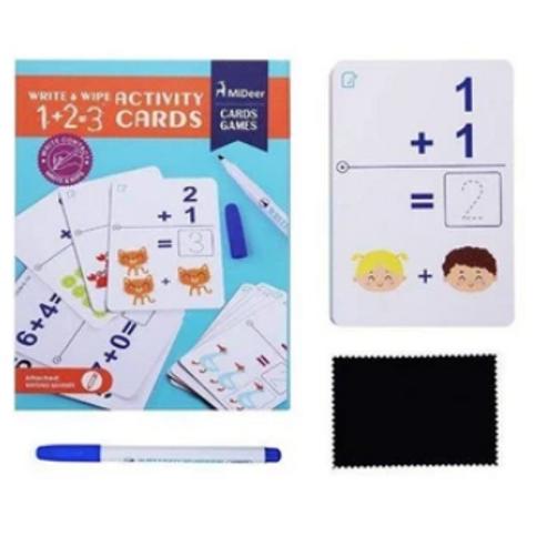Mideer Write & Wipe Activity Cards - 1+2=3