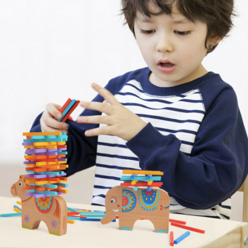 Mideer wooden balance stacking elephant game