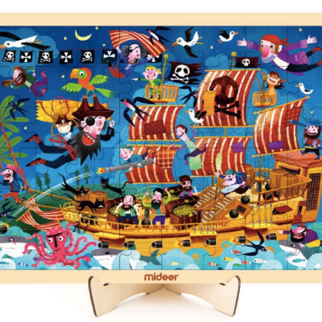 MiDeer wooden puzzle pirate boat jigsaw Princess Princess puzzle board toys