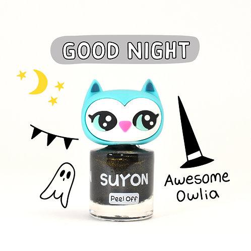 Suyon Kids Nail Polish- Awesome Owlia (Black & Gold Pearl)
