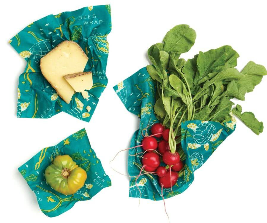 Food wrapped in teal Bees Wrap