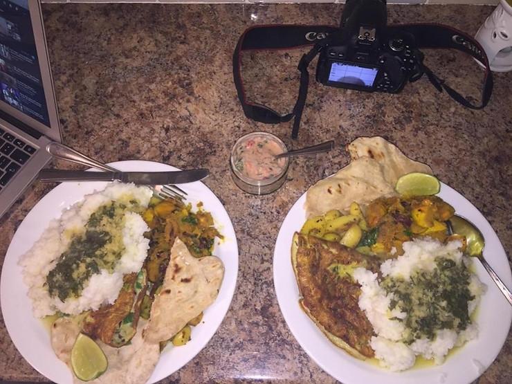 Dal (lentil soup), Bhat (rice), fried potatoes, pumpkin, omelette, bread & pickle.