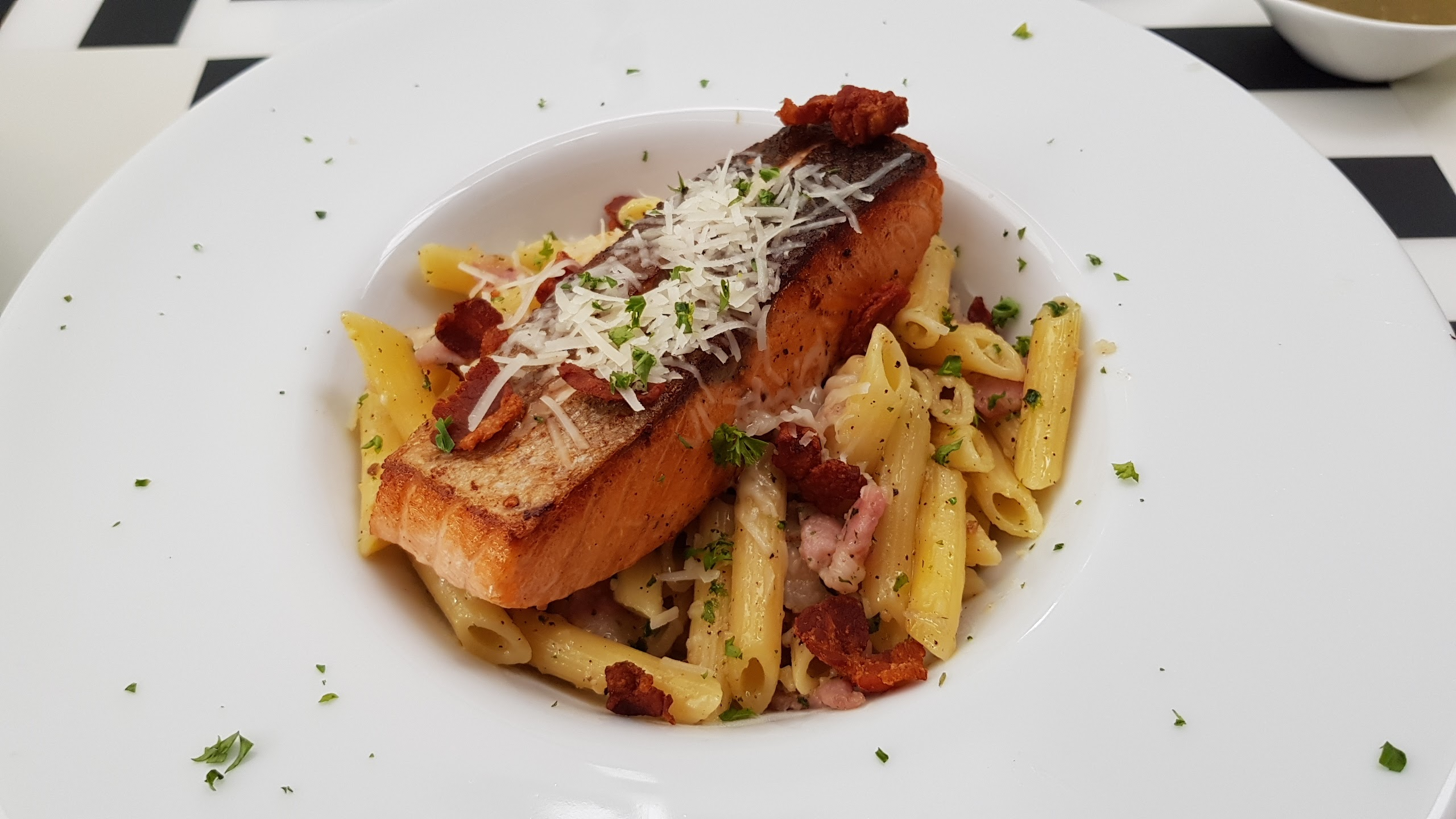 Salmon Steak with Penne