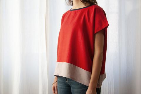 Päng Bluse Rot & Altrosa