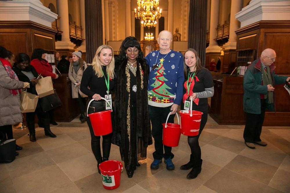 Volunteers with Patti Boulaye