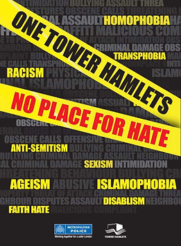 Tower Hamlets No Place For Hate Poster