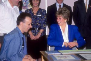 Diana, Princess of Wales meets Kevin on her 2nd visit to Mildmay Hospital