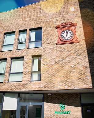 Mildmay Hospital main entrance and clock