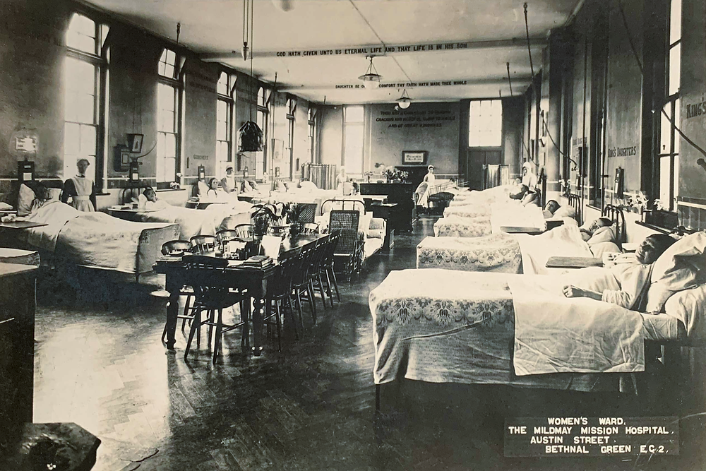 An old postcard of the Women's Ward in the old Mildmay Mission Hospital.