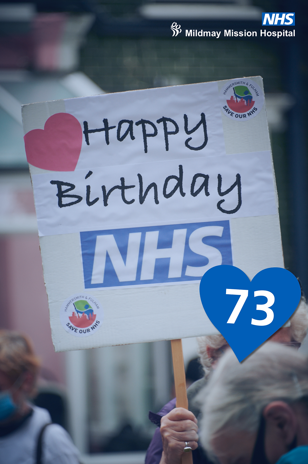 """Banner reading """"Happy 73 birthday to the NHS"""""""