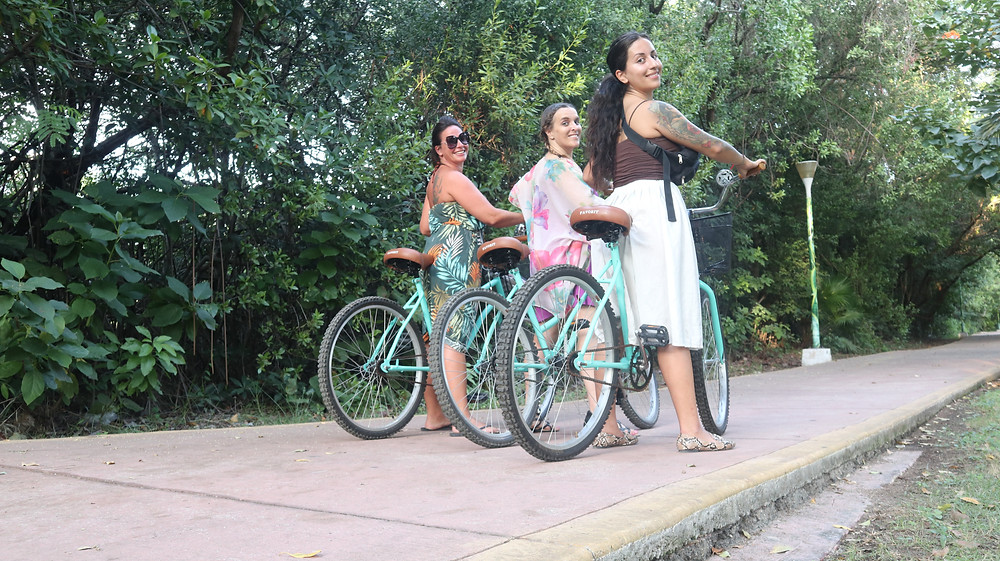 Jen, Nina and I biking in Cancun, Mexico