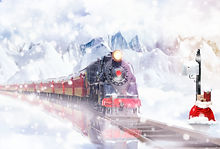 Christmas Express in the snowy landscape