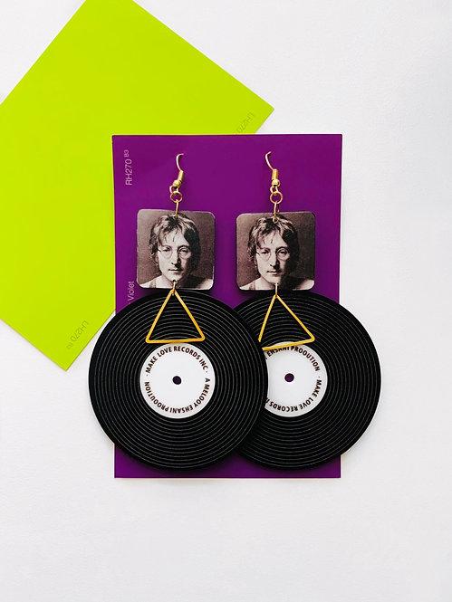 John Lennon Vinyl Record Earrings