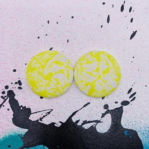 Neon Damask - Jumbo Textile Earrings