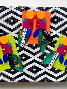Urban Collars Textile Jewelry - Hand Painted Birdie Earrings