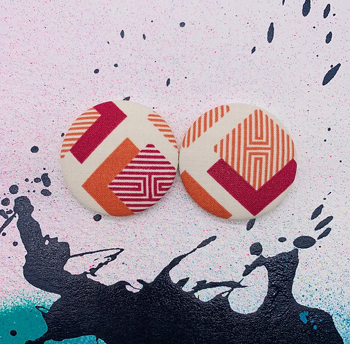 Maroon & Cream Tribal - Jumbo Textile Earrings