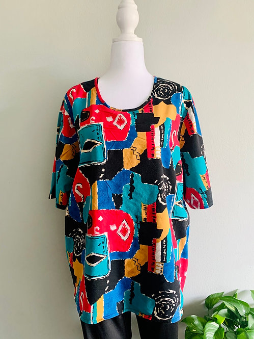 Colorful Vintage Top - Size: 22W