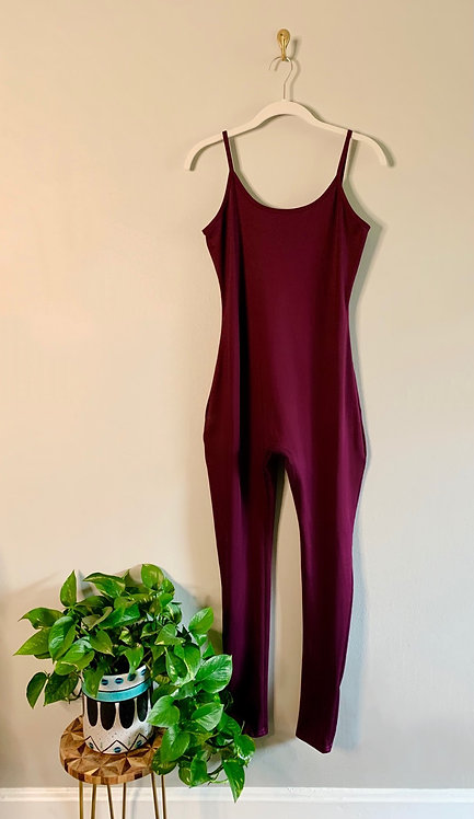 Burgundy Jumpsuit - Size L
