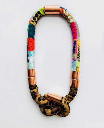 Urban Collars Textile Jewelry- Vibrant Magnetic Collar Necklaces (SoHo + Leopard Collar)
