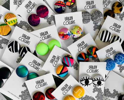 Urban Collars Textile Jewelry - Vibrant Button Earrings