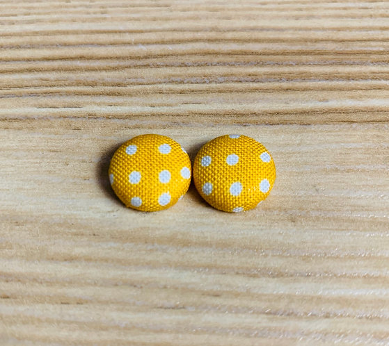 Yellow Polka Dot - Tiny Textile Earrings