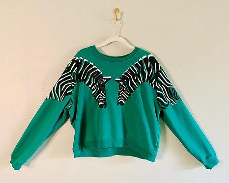 L.A. Hearts Zebra Crop Top Sweatshirt - Size: XL