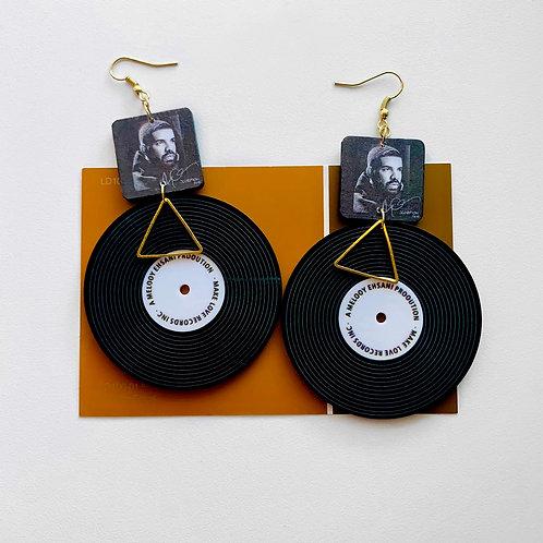 Drake Vinyl Record Earrings