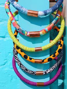 Urban Collars Textile Jewelry- Vibrant Magnet Collar Necklaces