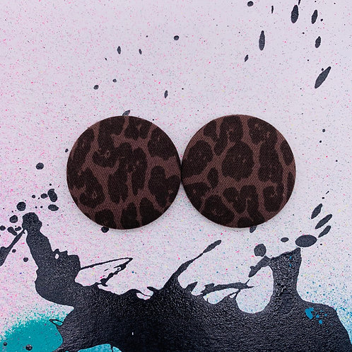 Leopard Denim - Jumbo Textile Earrings