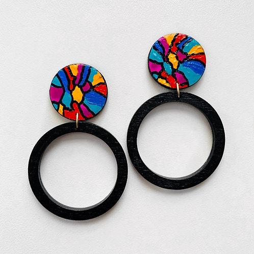 Multicolored Circle Earrings