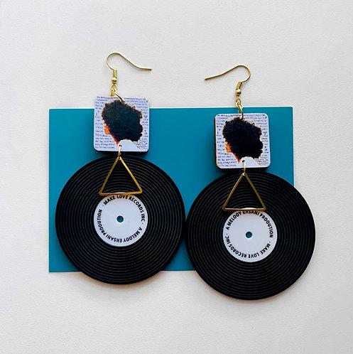 Erykah Badu Vinyl Record Earrings