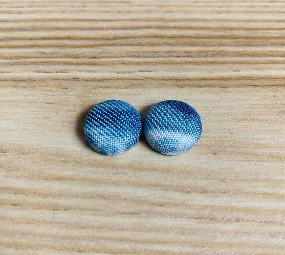 Tie-Dye Denim - Tiny Textile Earrings