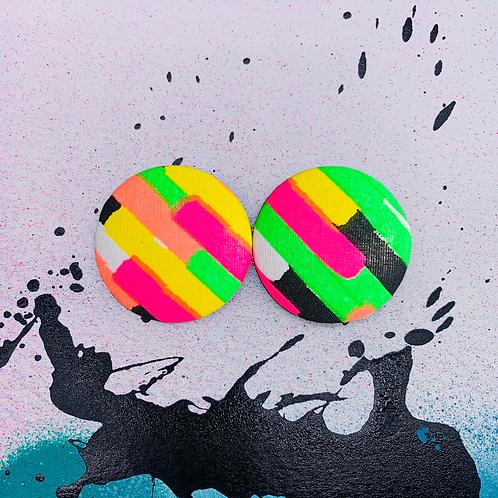 Neon Dash - Jumbo Textile Earrings