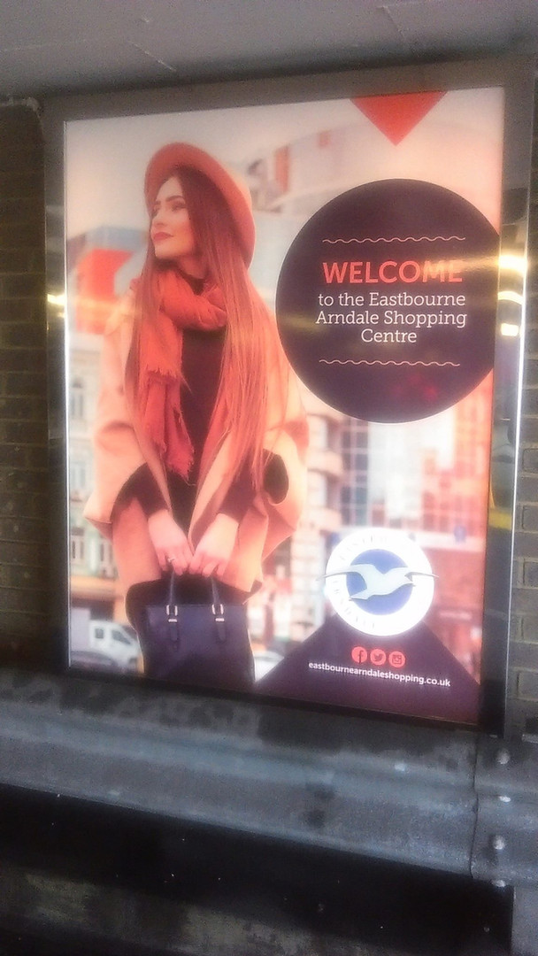 Shopping centre 'Welcome' sign