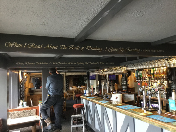 Hand painted beam quotes