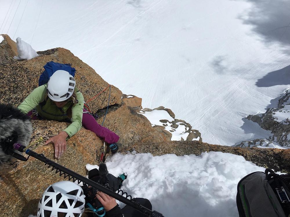 la guide Esther Wiget en arrivant au sommet